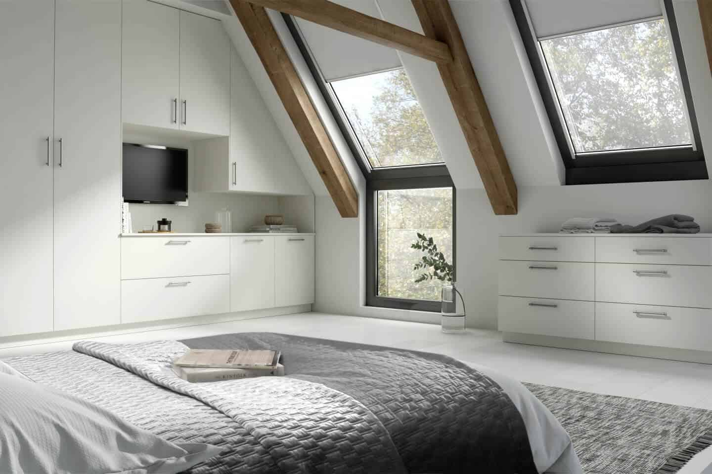 white bedroom with windows on the ceiling