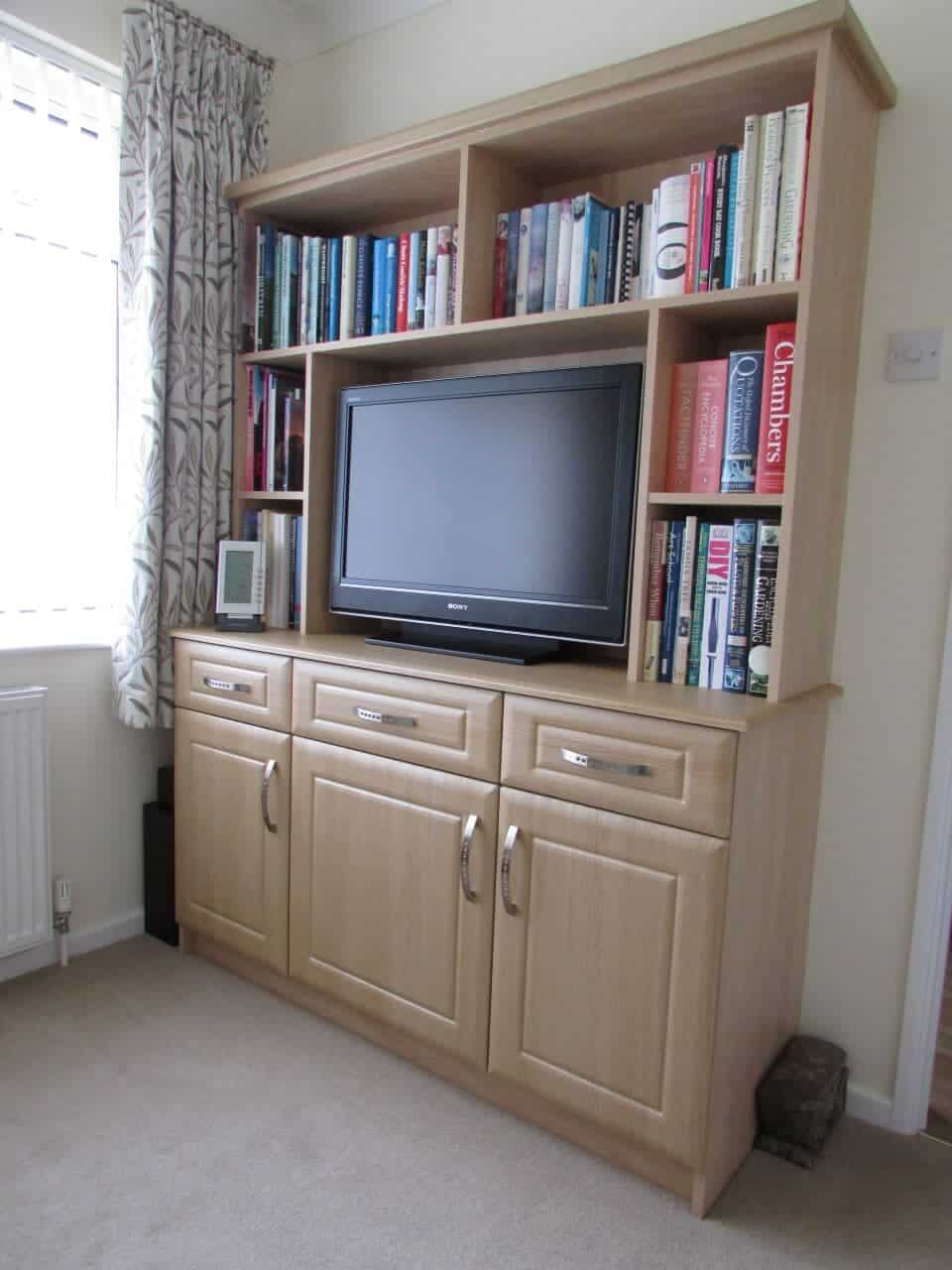 Bookcase with media storage - Goscote Stamford in oak