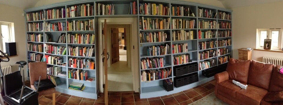 Bespoke painted, fitted bookcases.