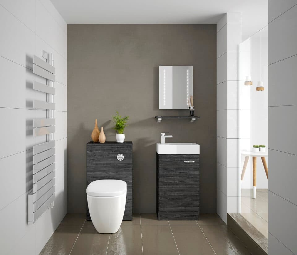 bathroom with tiled floor and black wood furniture