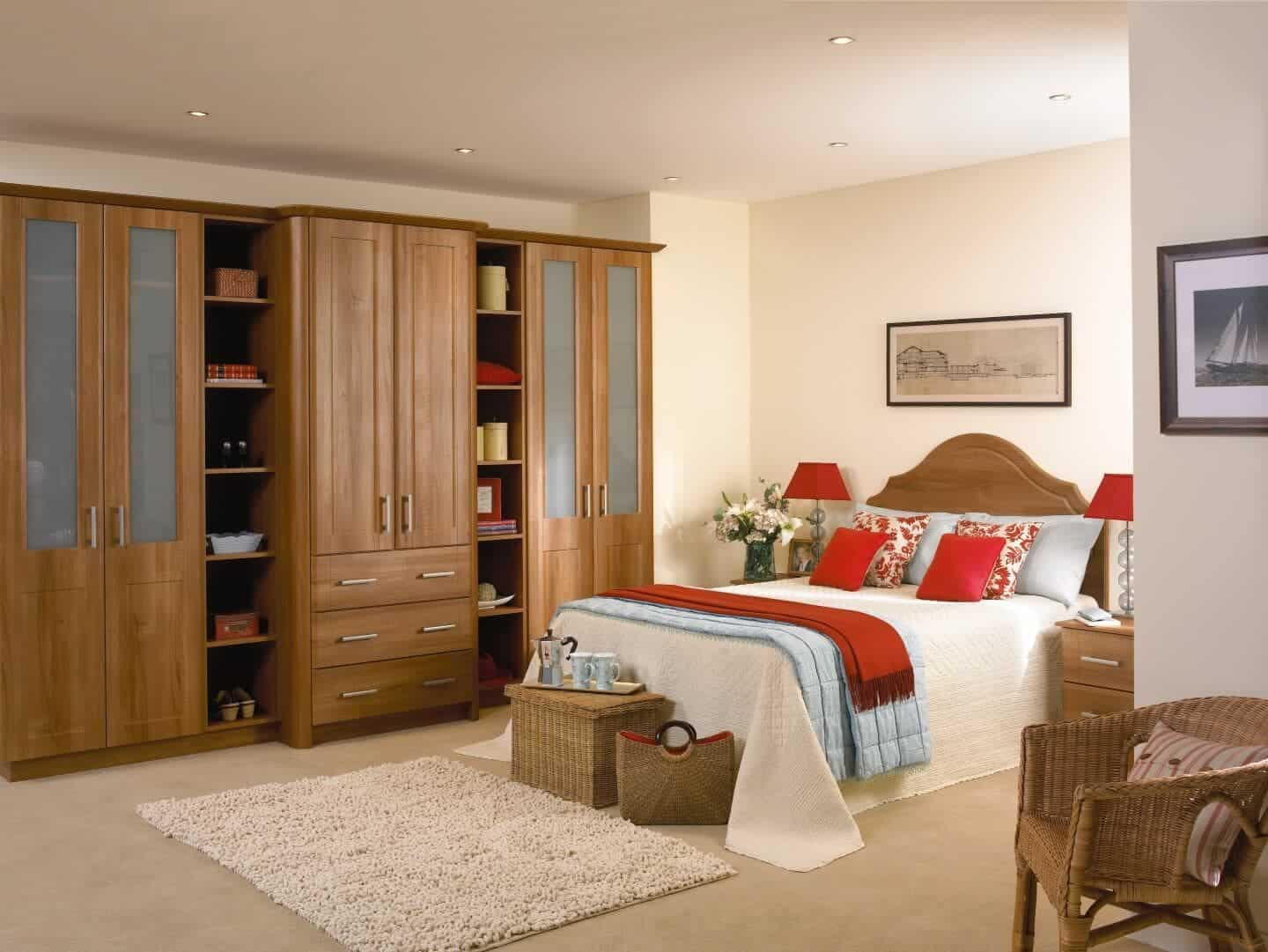 natural wood bedroom with shelves