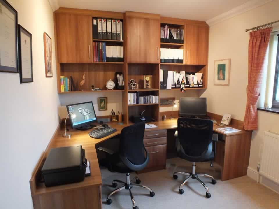 Home office with Derwent doors in medium walnut