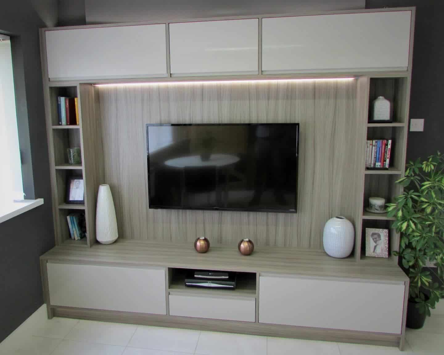 Media lounge unit with Gallio gloss doors and driftwood panels.