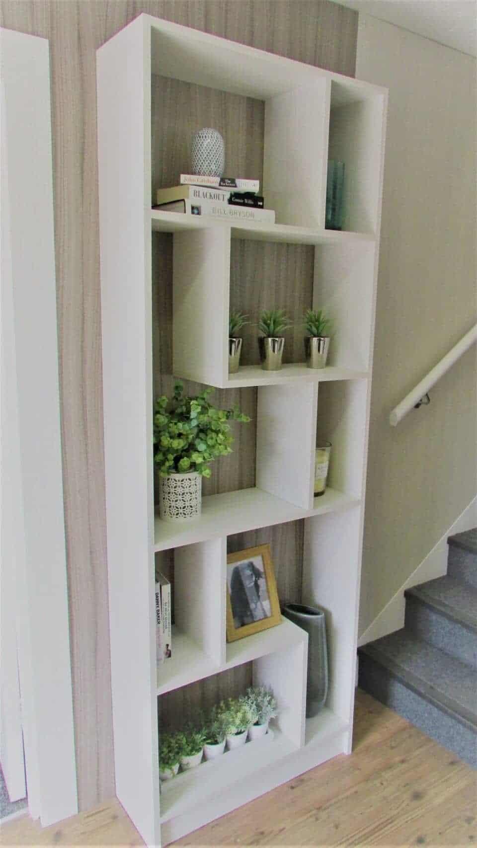 Display unit in textured woodgrain.