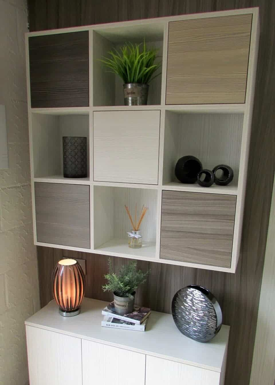Box shelving in textured woodgrain.
