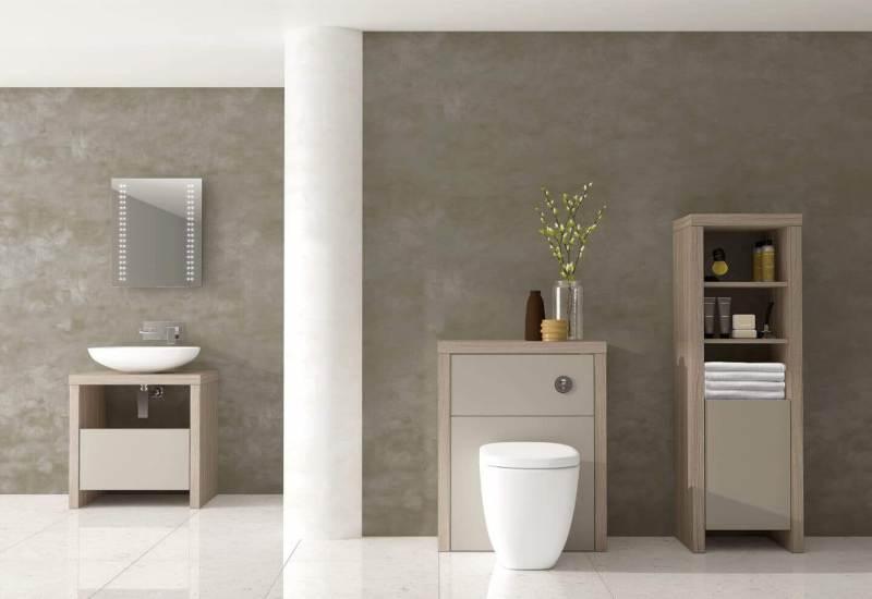 bathroom with beige minimal furniture